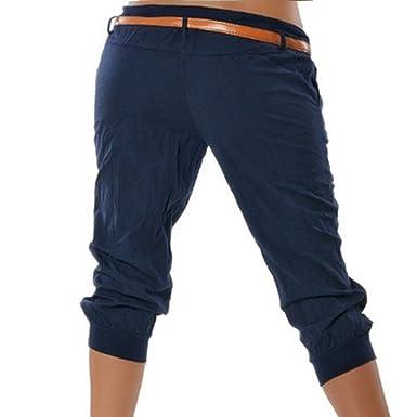 Wenyujh     Damen Hose Freizeithose Sommerhose Ohne Gürtel Kurz Skinny Hose  Streetwear Bleistift Hose Mode Elegant  Amazon.de  Bekleidung 8f264f9182