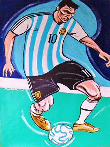 LIONEL MESSI ORIGINAL PAINTING-man cave art-soccer fifa world cup barcelona football club argentina by FRO-ART