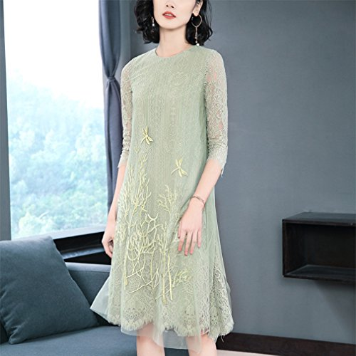 Neck Scoop Women`s Color Dress LINE A Dresses cotyledon Solid 4 Sleeve 3 8AZ0O
