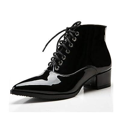 290e2989c6ca7 Rosegal Bottine Femme Talon Bloc Lacet Boots Cuir Mode Sexy Bout Pointu  Tube Botte (34