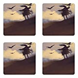 Ambesonne Horror Coaster Set of Four, Dark Soul From a Scary Movie Film Movie on the Hills with Clouds and Flying Crows Print, Square Hardboard Gloss Coasters for Drinks, Black