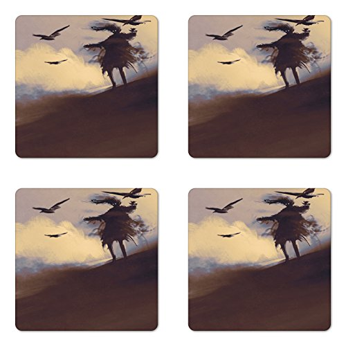 Ambesonne Horror Coaster Set of Four, Dark Soul From a Scary Movie Film Movie on the Hills with Clouds and Flying Crows Print, Square Hardboard Gloss Coasters for Drinks, Black by Ambesonne