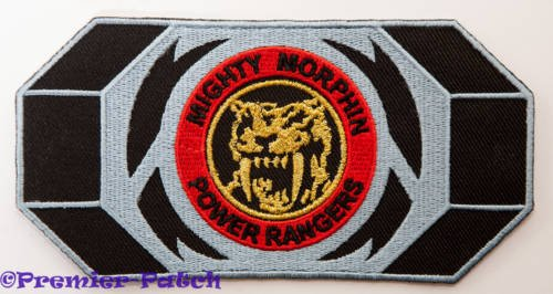 Black Dino Thunder Power Ranger Costume (Mighty Morphin Power Rangers Embroidered Iron on Patch / Yellow Ranger Morpher Belt Buckle Badge Applique Costume Fancy Dress)