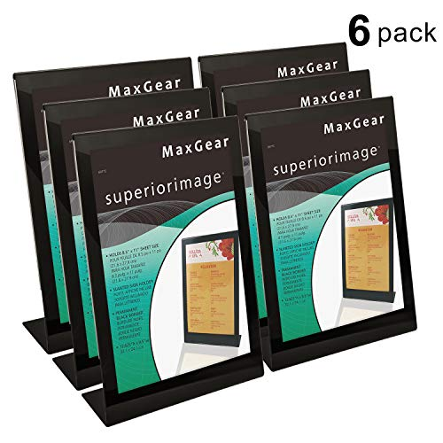 MaxGear Slant-Back Sign Holder, Acrylic Sign Holders, Clear Acrylic Stand Holder 8.5 X 11 inches, Extra Thick Sign Holder, Display Stand Ad Frame for Office, Home, Store, Restaurant, 6 Pack (Paper Deflector)