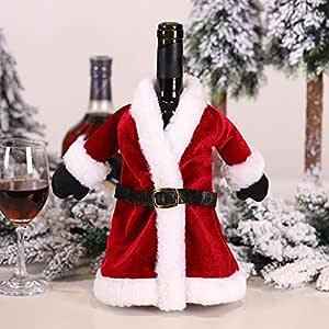 HuXwei Nuevo Conjunto de Vino Tinto navideño Vestido de Navidad Conjunto de Botella de Vino Falda de Navidad decoración de Botella de Vino Bolsa de Vino Tinto Creativo, Conjunto de Vino de