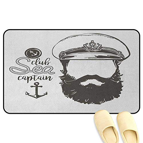 Anchor Doormat Portrait of a Faceless Captain with Hat and Beard Seaman Character Illustration Brown White Hard Floor Protection W24 x L35 - Medallion Anchor Seat