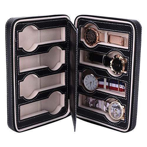 Autoark 8 Slot Leather Portable Travel Watch Case Storage Organizer,Black,AW-034 by Autoark (Image #3)