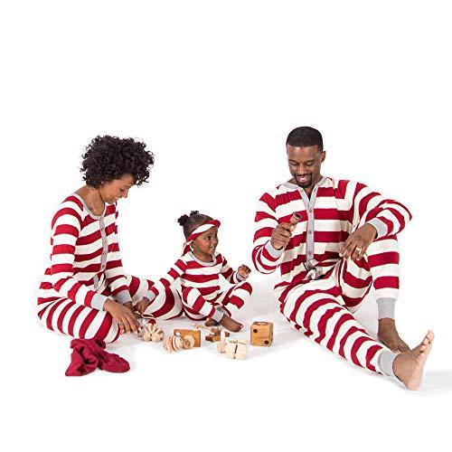 Burt's Bees Baby Family Jammies, Cranberry Rugby Stripe, Holiday Matching Pajamas, Organic Cotton, Mens Jumpsuit Medium