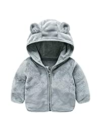 KONFA Toddler Baby Girls Boys Winter Warm Clothes,Cartoon Bear Hooded Jacket Cotton Coat,for 0-4 Years Kids