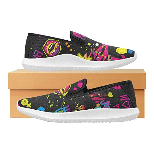 InterestPrint Abstract Girlish With colorful Kiss Lips, Spray Paint Ink Womens Slip-On Loafer Shoes Canvas Fashion Sneakers Multi 1