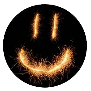 alfombrilla de ratón Feliz sonriente sonrisa extraña dibujado con destellos aislado en negro - ronda - 20cm