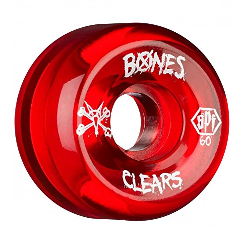 Bones Wheels Clear Skate Park Formula Wheels, Red, 60mm