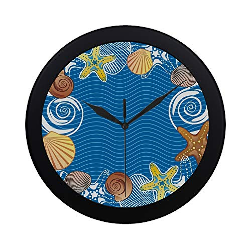YKNFIS Modern Simple Sea Wall Clock Indoor Non-Ticking Silent Quartz Quiet Sweep Movement Wall Clcok for Office,Bathroom,livingroom Decorative 9.65 Inch
