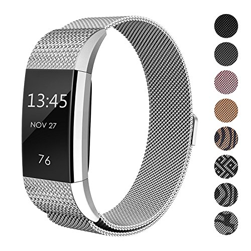 SWEES Metal Bands Compatible Fitbit Charge 2, Replacement Small (5.5 - 8.5) Stainless Steel Metal Magnetic Wristband Watch Band Women, Black, Rose Gold, Silver, Colorful