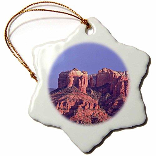 (3dRose Danita Delimont - Arizona - Arizona, Sedona. Cathedral Rock at sunset - US03 CSL0004 - Charles Sleicher - 3 inch Snowflake Porcelain Ornament)