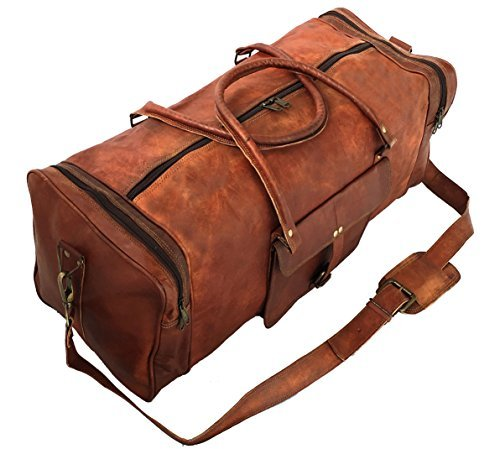 Leather Travel Duffel Messenger Shoulder Gym Holdall Luggage Bags For Men And Women