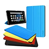All-New Fire HD 8 Cover (7th Generation, 2017 Release), Zerhunt Premium PU Leather Ultra Light Multi-Angle Stand For Fire HD 8 With Auto Wake / Sleep Sky Blue