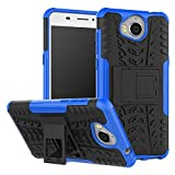 Huawei Y6 2017 Case, B1ST Huawei Y5 2017 Case,Impact Anti-fall,Scratch Resistant, Resistant Shockproof TPU Soft Cover Dual Layer Rugged Heavy Duty Corner Protection Cover Military Tires Leather with Kickstand for Huawei Y5 2017/Y6 2017(Blue)