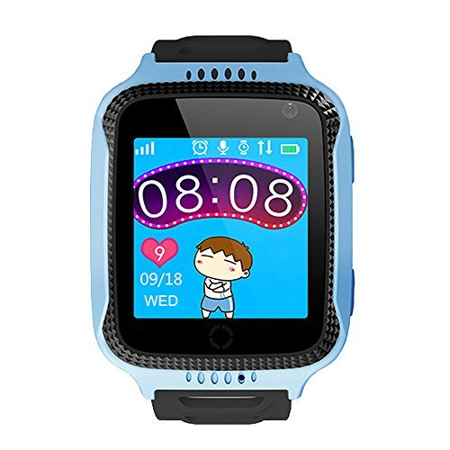 HOK Kids Smart Watch GPS Tracker Children Smart Watches Phone with SOS Flash Light Anti-Lost Support iPhone and Android Smartphone (Blue)