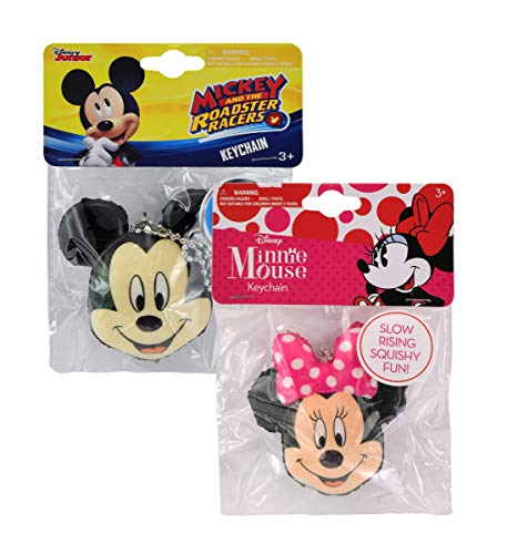 Mozlly Value Pack - Disney Junior Mickey Mouse and The Roadster Racers and Minnie Mouse Bowtique Slow Rising Keychains - 2.5 inch - Clip to Bags, Keys and More - - Head Foam Keychain