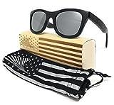 Patriot Shades Polarized Floating Large Frame Bamboo Wood American Flag Wayfarer Sunglasses | LOUDMOUTH PATRIOT (Black, Silver)