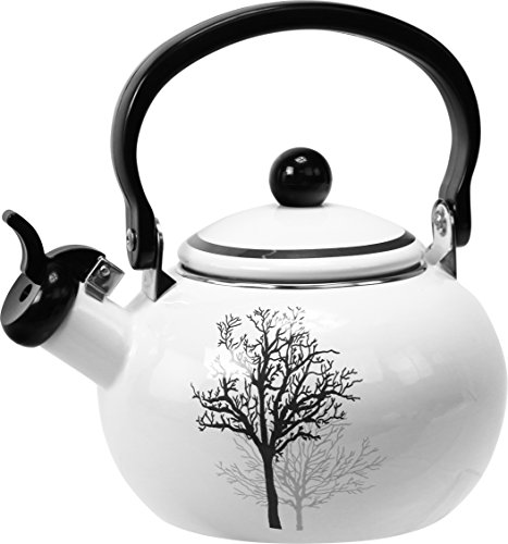 Reston Lloyd 36257 Corelle Coordinates Harmonic Hum Alert Whistling Teakettle with Fold Down Handle, Timber Shadows Pattern, 2 Quart (Teapot White Black And)