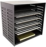 Blu Monaco 6 Tier Vertical Trays Document File Holder - Office Desktop Sorter Rack - Adjustable Shelves - Black Metal