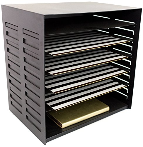 Blu Monaco 6 Tier Vertical Trays Document File Holder - Office Desktop Sorter Rack - Adjustable Shelves - Black Metal (Adjustable Document Holder)