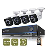 ISEEUSEE 4Channel 720P HD DVR Home Security Video System HDMI Output 4x 1500TVL Indoor & Outdoor Night Vision Cameras and Free Pro APP CCTV Surveillance Kits No Hard Drive
