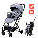 Lightweight Baby Stroller for Toddler Travel, Infant Convenience Stroller,Portable Airplane Travel Carry On Strollers,Folding Umbrella Pram (Grey)