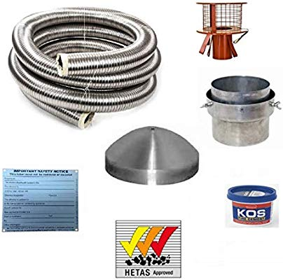 9 Metre 6 316 Flexible Multifuel Stove Flue Liner Pack//Kit With Hanging Cowl Stainless Steel Class 1 HETAS 9m 904 Grade