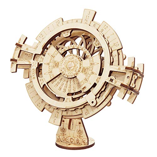 RoWood Mechanical Gear 3D Wooden Puzzle Craft Toy, Gift for Adults & Kids, Age 14+, DIY Model Building Kits - Perpetual Calendar]()