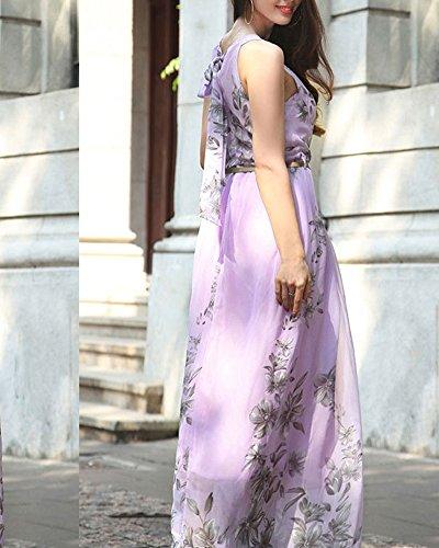 Mujer Largo Vestido Gasa Cabestro Vestidos Sin Mangas Vestido De Fiesta De Graduación Púrpura