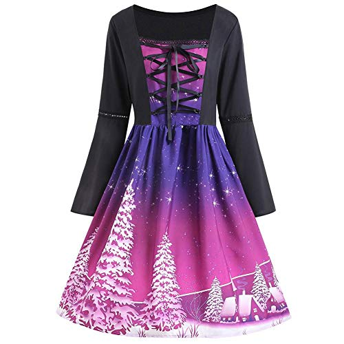 Sexy Costume Cocktail Cloche Halloween Robes 5XL XL Chic de Purple Vintage de Robe Deguisement Vtements Fille Soire Manchon Robe Femme Noel Grande Femmes de Taille Impression Multicolor Exq0pdp7