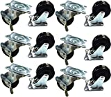 Black Duck Brand 2'' Locking & Non-Locking Swivel Caster Wheels Rubber Base with Top Plate & Bearing, Heavy Duty (6 Locking & 6 Non-Locking Casters)