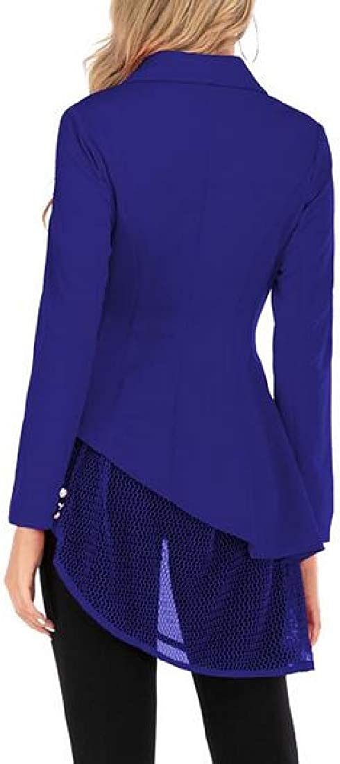 MK988 Womens Asymmetrical Hem Mesh Stitching Business Work Blazer Jacket Suit Coat 1