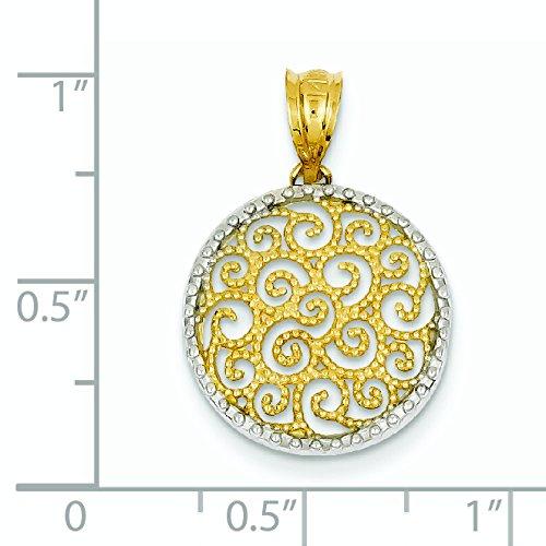 14 carats et Rhodium avec pendentif en forme de cercle filigrane-JewelryWeb