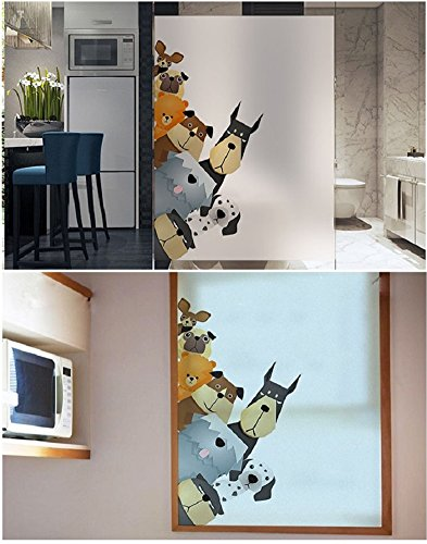 LANGUGU Cats Pattern Glass Non-Adhesive No Glue Static Decorative Privacy Window Films 17.7in By 23.6in. 45 X 60cm Glass Sticker For Office Home Bedroom Glass Door Privacy BLT02