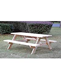 Rectangular Shaped Wooden Picnic Table   72in.L X 60in.W X 27 1
