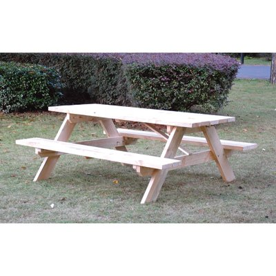 Rectangular Shaped Wooden Picnic Table – 72in.L x 60in.W x 27 1/2in.H Overall Size