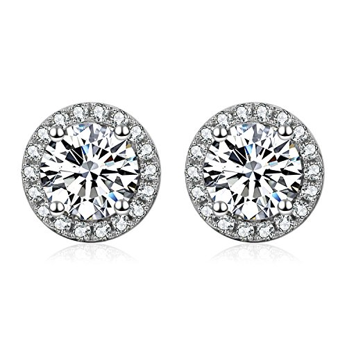 YFN Platinum-Plated Sterling Silver Round-Cut Cubic Zirconia Halo Stud Earrings ()