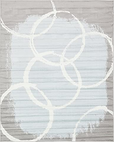 Modern Abstract 8 feet by 10 feet (8' x 10') Metro Light Blue Contemporary Area Rug