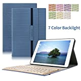 Keyboard Case for New iPad Pro 10.5 ,Dingrich Trifold Protective Stand Auto Sleep Wake up Smart Cover with 7 Color Backlit Aluminum Bluetooth Keyboard for 2017 New iPad Pro 10.5 inch(Dark Blue)