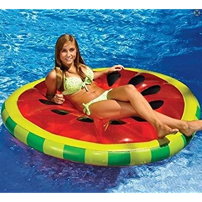 "61.5"" Inflatable Red and Green Watermelon Fruit Slice Swimming Pool Lounger: Toys & Games [5Bkhe0705989]"