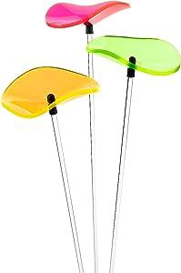 Cazador-del-sol Poppy Suncatchers - Set of 3 Acrylic Flower Garden Stakes, Light Reflectors, Yard Decor - Colorful/Cool