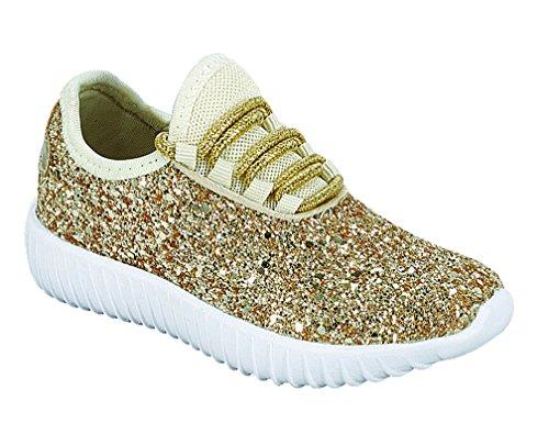 Link Lace up Rock Glitter Fashion Sneaker for Children/Girl/Kids -