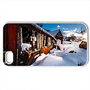 Barn - Case Cover for iPhone 4 and 4s (Winter Series, Watercolor style, White)