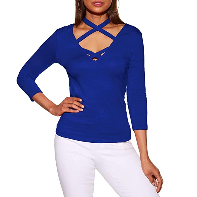 Longra Damen Shirt Sexy Party Oberteil Tops V-Ausschnitt Longsleeves  Langarmshirt T-Shirt Damen Elegante Blusen Neckholdertops mit Schnürung  Frauen Sweater ... 843b3505b9