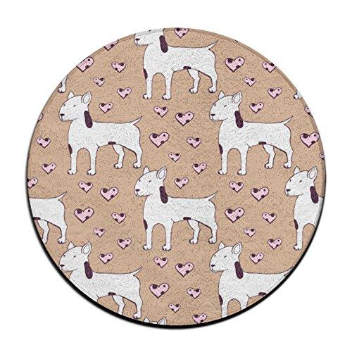 Heart Shape Clipart - Feimao Heart Bull Terrier Clip Art Non Slip Round Shape Doormat Indoor/Outdoor/Front Absorbent Circular Carpet Round Entry Mat Floor Rug Welcome Mat Kitchen Mat