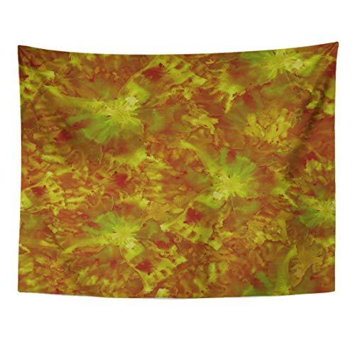 Amber Living Room Upholstery - Emvency Tapestry 80 x 60 Inches Green Maroon Futuristic Floral Pattern Watercolor Big Flowers for Upholstery Abstract Orange Amber Batik Wall Hanging Home Decor Tapestries Bedroom Dorm Living Room